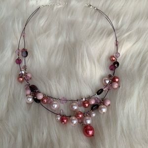 Pink and Purple Two-Strand Drop Necklace Statement